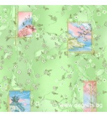 Тапет хартиен Сакура зелен