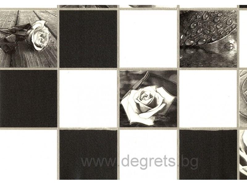 Тапет PVC Роза чер-бял